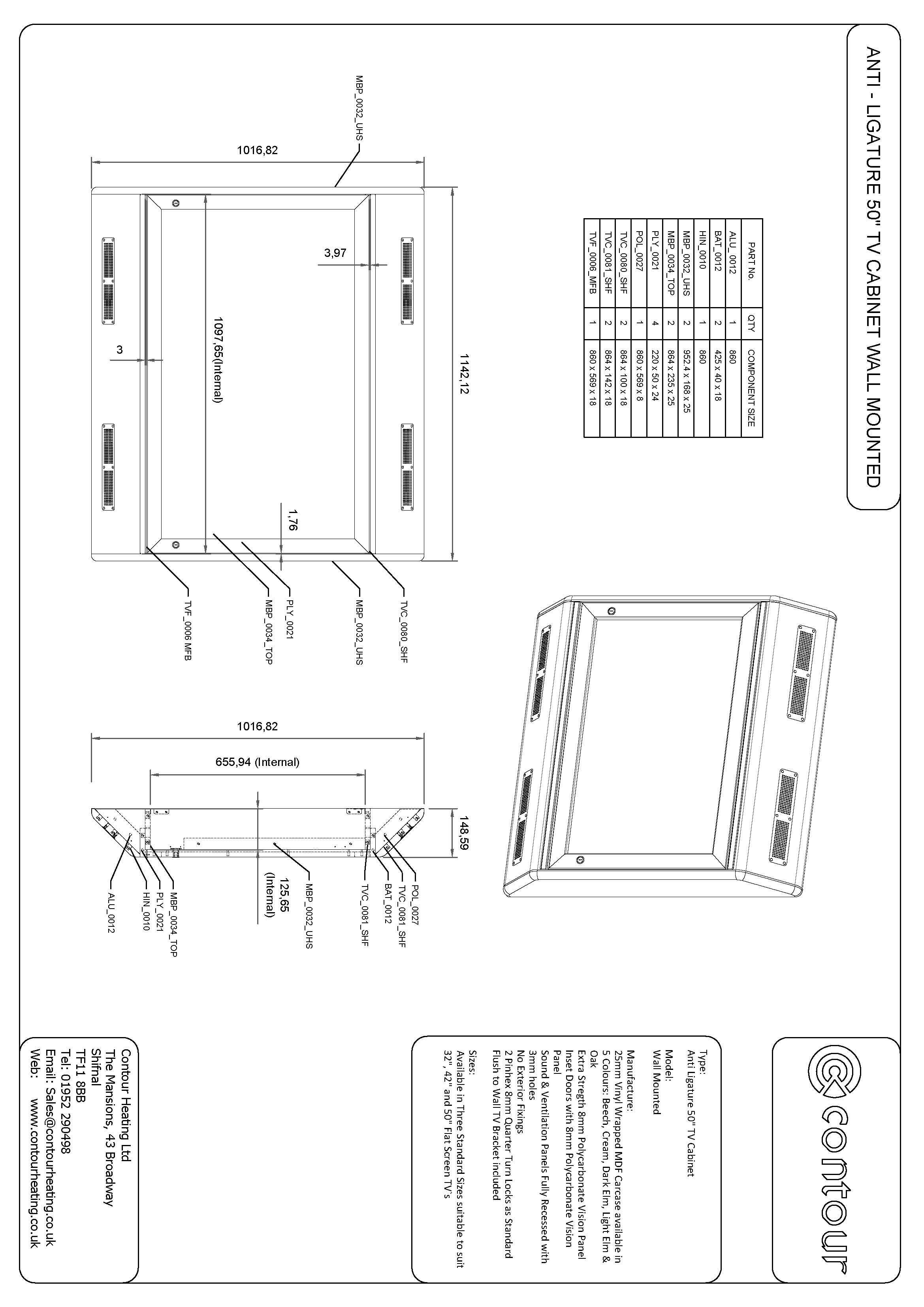 Anti Ligature 50 inch TV Cabinet Wall Mounted