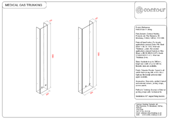 Medical gas trunking technical drawing