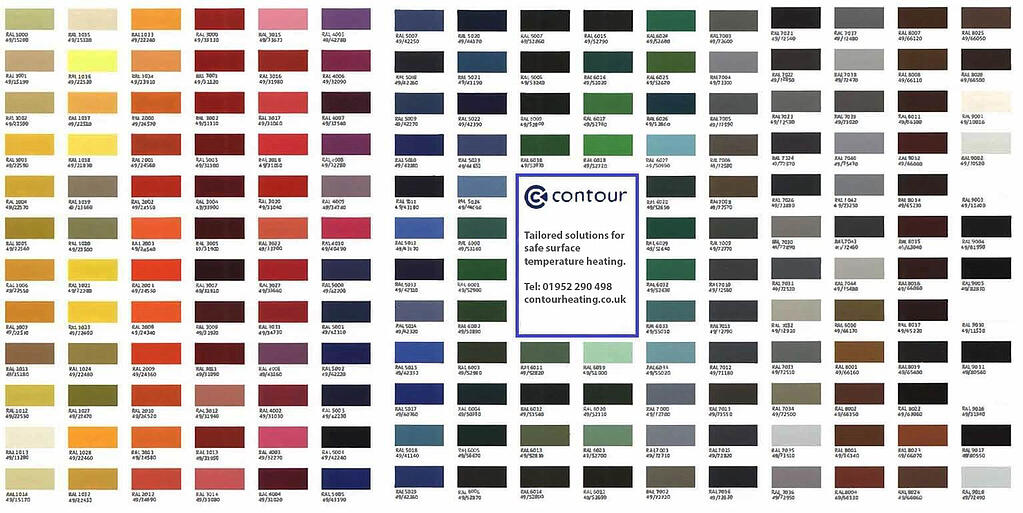 RAL colour chart for Contours radiators updated
