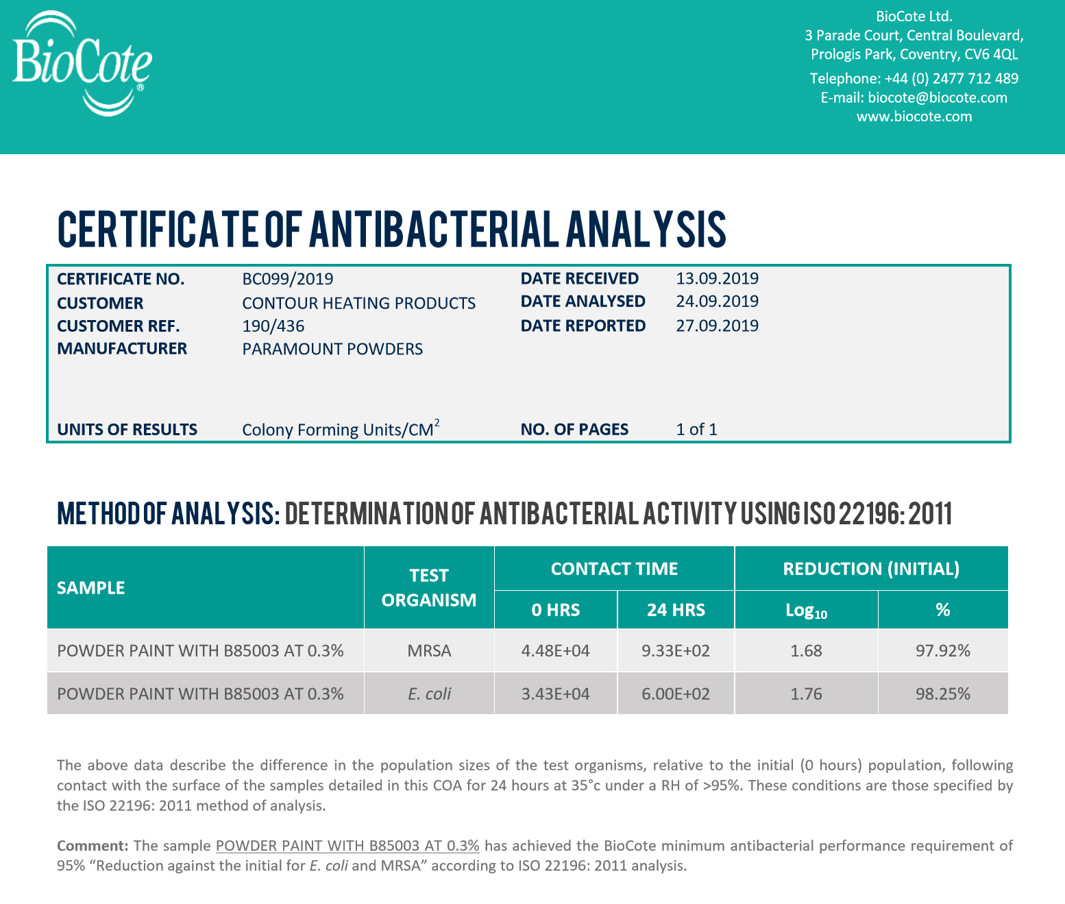 biocote certificate of analysis for contour heating-1