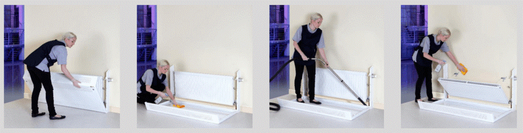cleaning behind radiator