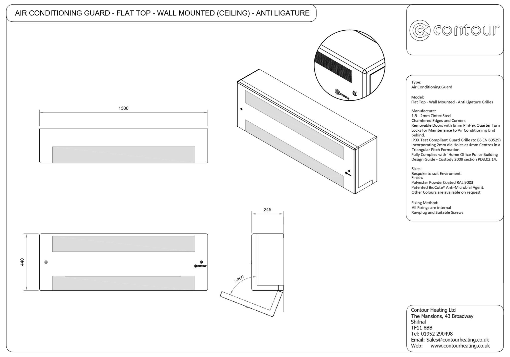 AIR CONDITIONING GUARD - FLAT TOP - WALL MOUNTED (CEILING) - ANTI LIGATURE